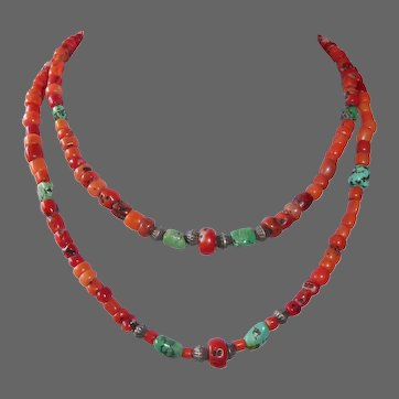 Ethnic Tibetan Double Strand Coral Necklace w Turquoise