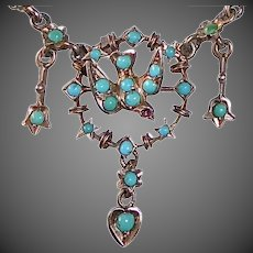 Antique Victorian Sterling Necklace w Bird & Persian Turquoise Cabs