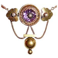 14k & 18k Victorian Festoon Necklace w Amethyst & Pearls