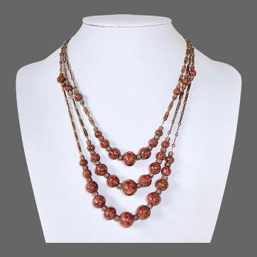 Early Goldstone & Brass Triple Strand Necklace