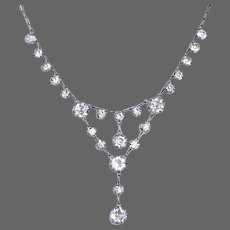 Art Deco Sterling Necklace w Prong Set Open Back Crystals
