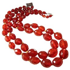 Antique Transparent Cognac Amber Faceted Oval Bead Double Strand Necklace