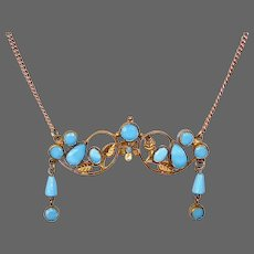 Victorian Revival Gilt Brass Necklace w Faceted Turquoise Glass