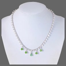 Sparkling Green & Clear Faceted Crystal Rhodium Plate Necklace