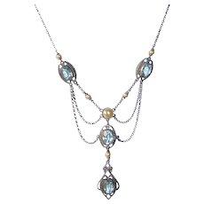 Edwardian Sterling Festoon Necklace w Aqua Paste & Glass Pearls
