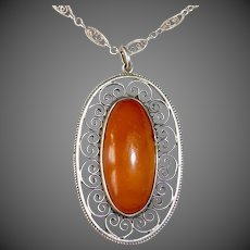 Sterling & Amber Filigree Pendant Necklace