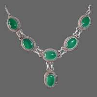 Sterling Drop Necklace w 6 Beautiful Chrysoprase Cabs