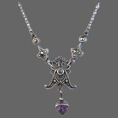 Art Deco Sterling Necklace w Marcasite & Amethyst Drop