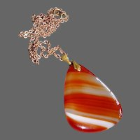 Large Double Sided Striped Agate Pendant Necklace