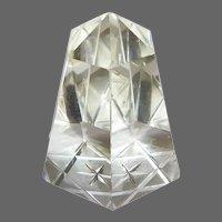 Cut Glass Hexagonal Pillar Paper Weight w Reverse Carved Star of David