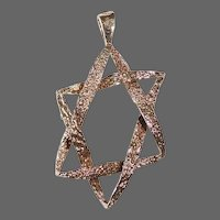 14k Judaic Modernist Star of David c1950s