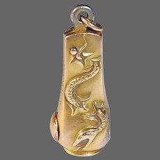 Victorian 10k Snake Motif Cigar Cutter Pendant Fob