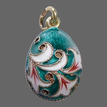 960 Gilt Silver & Enamel Russian Imperial Egg Pendant or Charm