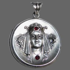 Art Deco Sterling Woman in Jeweled Headdress Pendant