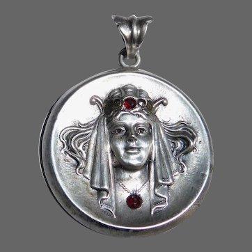Art Deco Sterling Woman in Jeweled Headdress Pendant
