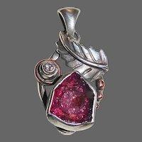 Handcrafted Sterling Rubellite Pendant w Diamond & Copper Accents