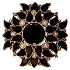 14k Victorian Onyx & Seed Pearl Layered Mourning Watch Pin/Pendant