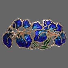 Art Nouveau Brass & Cloisonne Enamel Orchids Pin