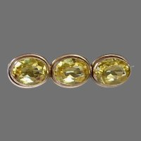 Edwardian Gold Filled Lace Pin w Yellow Paste Jewels