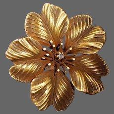 Victorian 10k Apple Blossom Flower Pin w Mine Cut Diamond