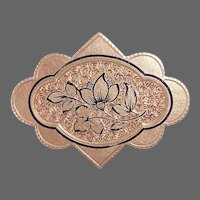 Victorian Engraved 10k Rose Gold Top Pin w Tracery Enamel