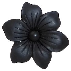 Antique Rose GF Black French Jet Glass Floral Mourning Pin