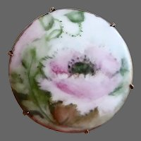 Victorian Hand Painted Porcelain Pink Poppy Pin