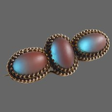 Victorian Color Change Saphiret Glass Pin 3 Cabochons