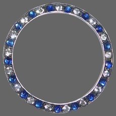 Art Deco Sterling Circle Pin Sapphire Blue & Clear Paste Stones