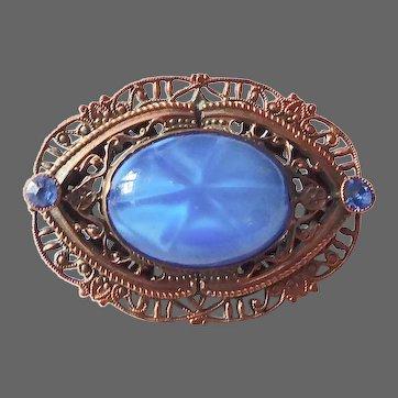 Art Deco Faux Star Art Glass & Paste Brass Filigree Brooch