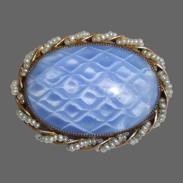 Art Glass Pin w Iridescent Optical Large Cabochon