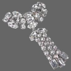 Sparkling Rhodium Plated Rhinestone Pin w Three Drops