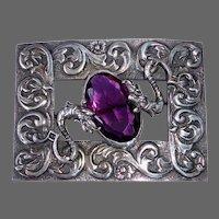 Victorian Chinese Dragons Purple Jewel Sash Ornament Pin