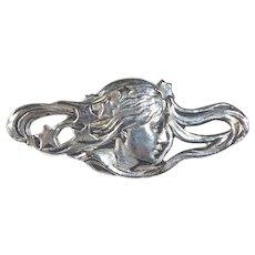 Art Nouveau Revival Silver Plate Woman Pin