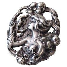 Art Nouveau Repousse Sterling Pin w Nude Woman, Swirls & Poppies