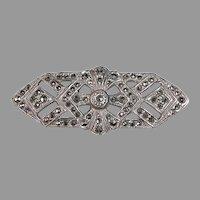 Art Deco Sterling & Marcasite Brooch w Pierced Design