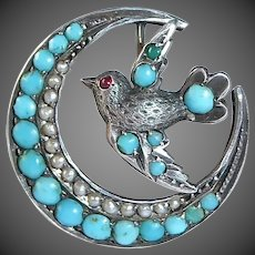 Antique Victorian Sterling Crescent Pin w Bird, Seed Pearls & Persian Turquoise Cabs