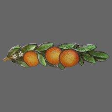 Cloisonne Enamel Sterling Pin Orange Tree Branch Charles M Robbins