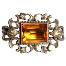 Victorian Sterling Jewel Pin w Amber Paste