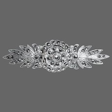 Art Deco Sterling & Marcasite Floral Bar Pin