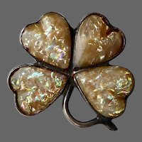 Sterling Four Leaf Clover/Shamrock Good Luck Pin w Mother of Pearl Inlay