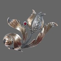 Sculptural Sterling Tulip Pin w Textured Gold Accents & Marcasites