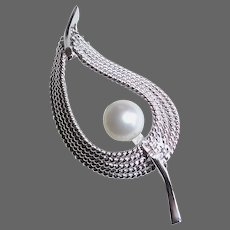 Sterling Leaf Pin/Pendant w Cultured Pearl