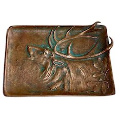 Antique Solid Bronze Pin Tray w Majestic Elk Head