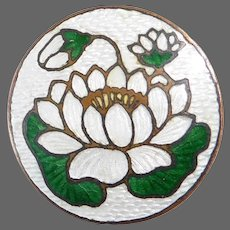 Water Lily Lotus Enamel on Brass Pin
