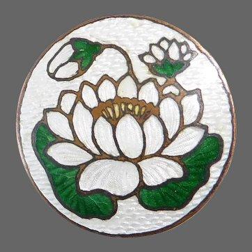 Water Lily Lotus Enamel on Brass Pin