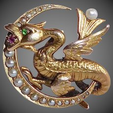 14k Victorian Dragon & Crescent Pin w Emerald, Ruby & Seed Pearls