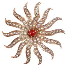 10k Rose Gold Edwardian Swirling Starburst Pin/Pendant w Graduated Seed Pearls & Carnelian Cab