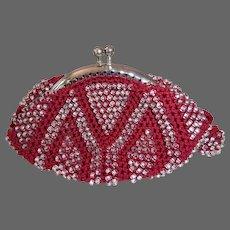 Art Deco Beaded Silk Crochet Change Purse Mint!