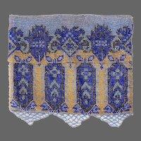 Art Deco Beaded Miniature Purse w Fringe in Shades of Blue